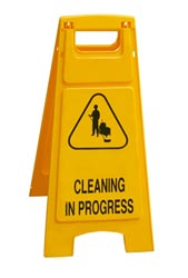 Cleaning in progress yellow sign